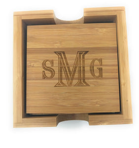 bamboo coaster set of 4 with holder customized lijo gifts
