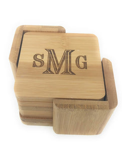 bamboo coaster set of 6 with holder customized lijo gifts