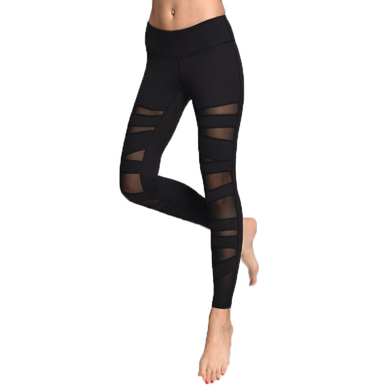 Women's Black Yoga Pants with Mesh
