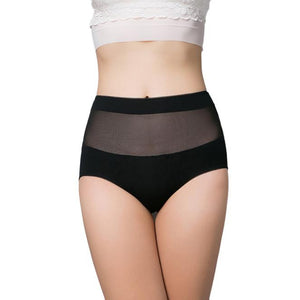 Women's Cotton Panties with High Waist and Mesh Back