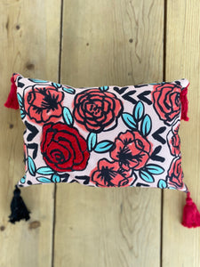 embroidered small pillow red roses