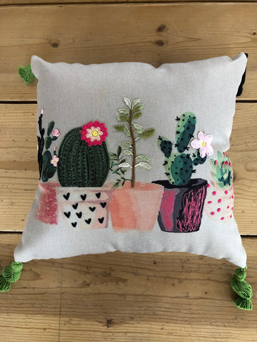 Embroidered Pillow Potted Cactus