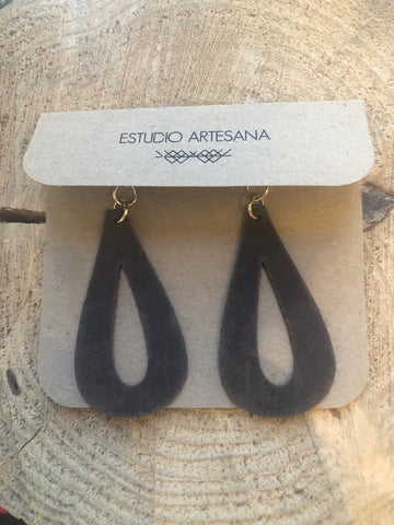 estudio artesana leather tear drop earrings