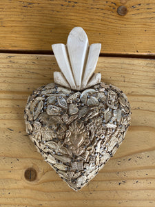 wood heart with saints