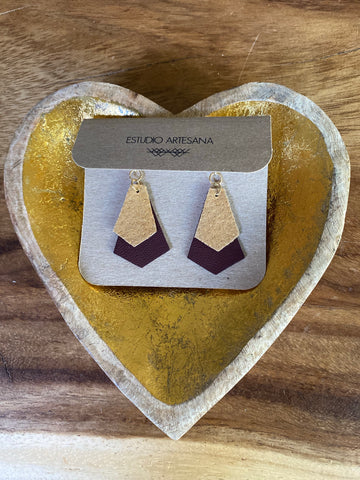 estudio artesana leather earrings geo shape 2