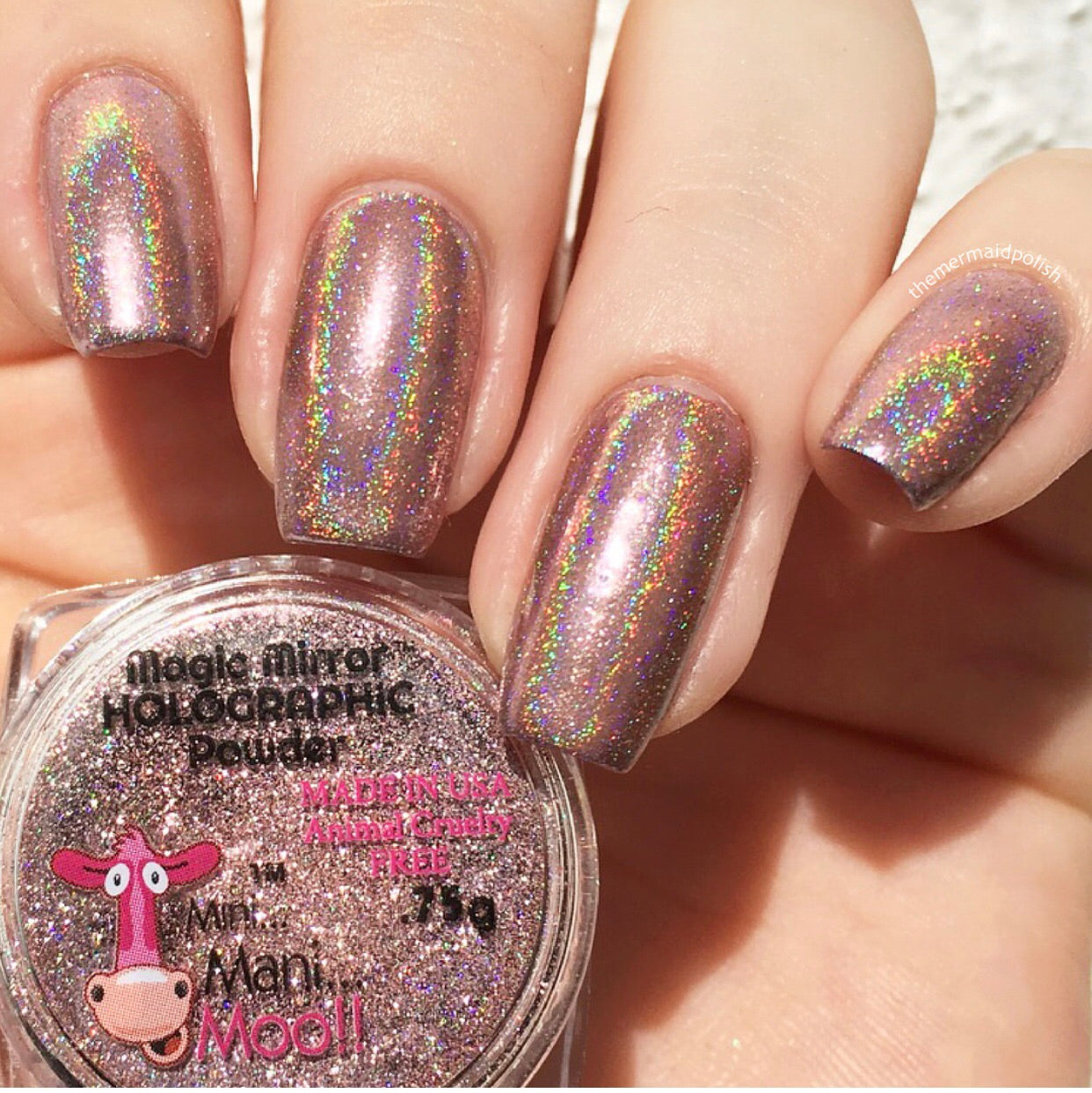 Magic mirror PINK HOLOGRAPHIC powder