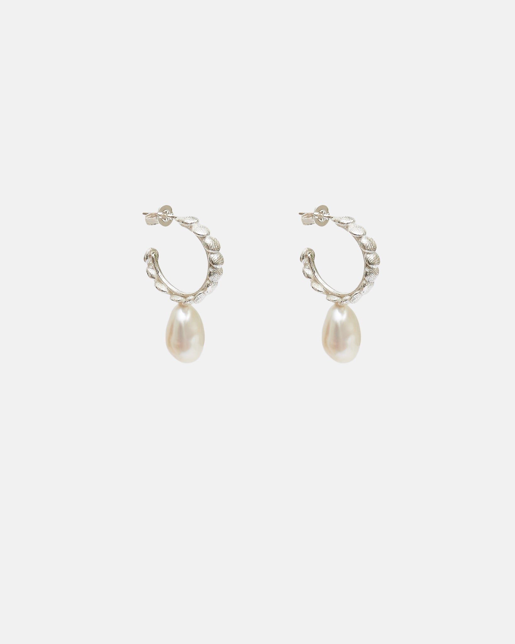 MINI BB HOOPS WITH PEARLS - SILVER