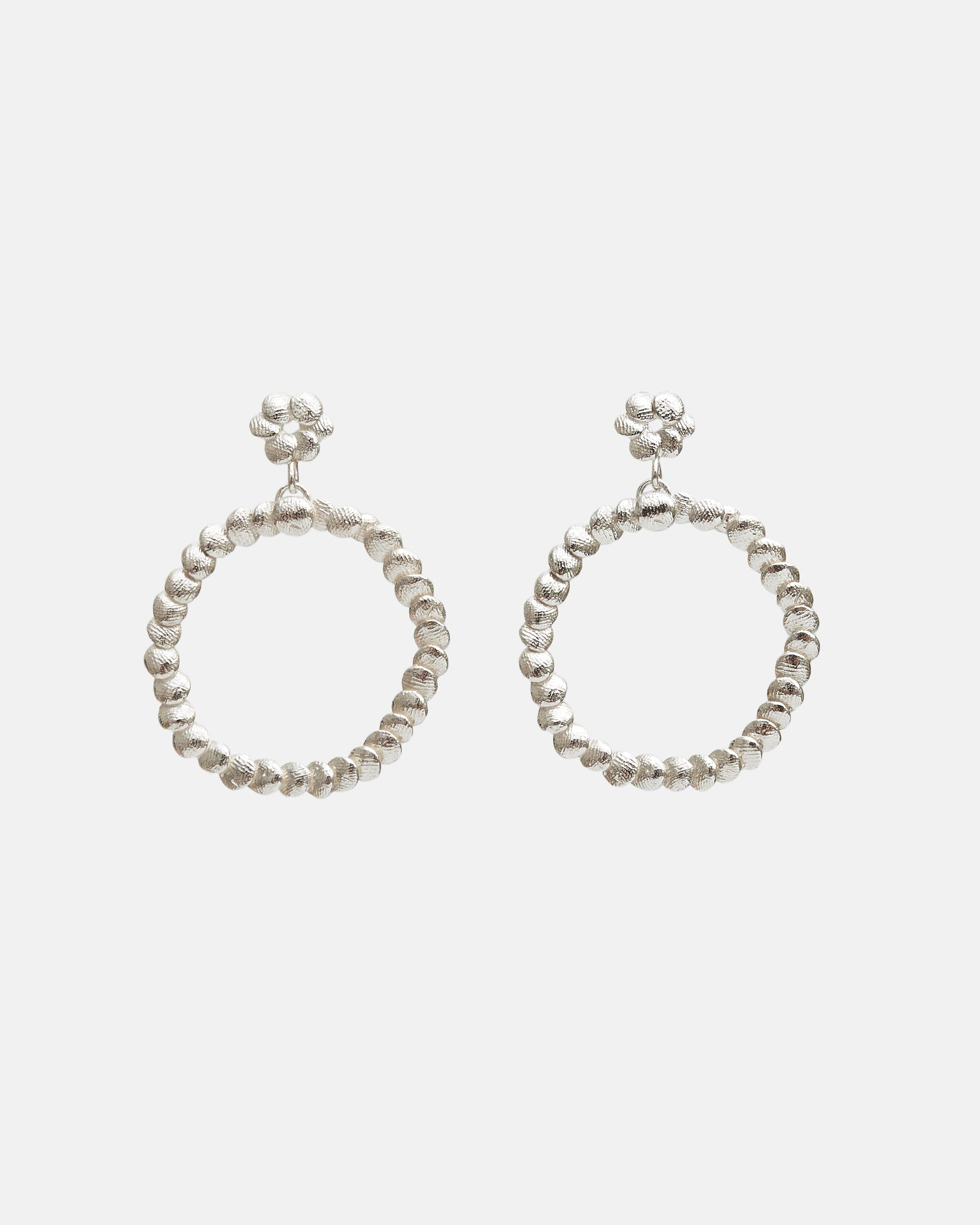 DOUBLE CIRCLE EARRINGS - SILVER