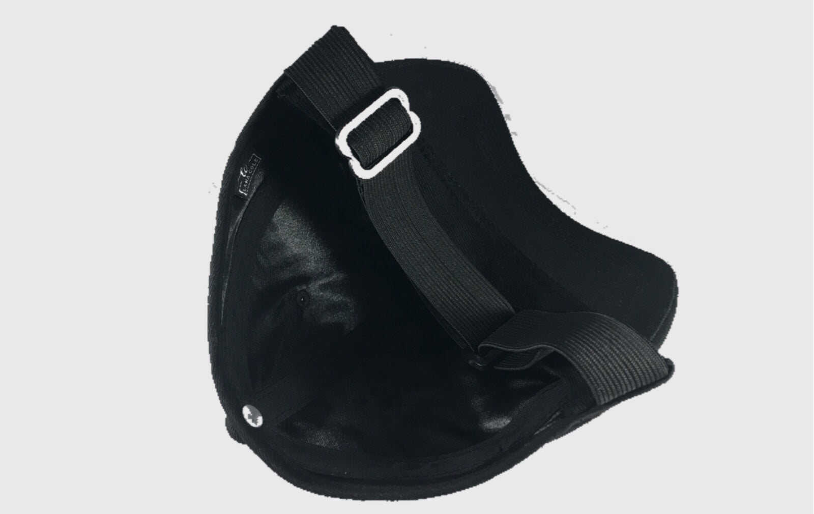Cotton Black Satin-Lined Backless Hat
