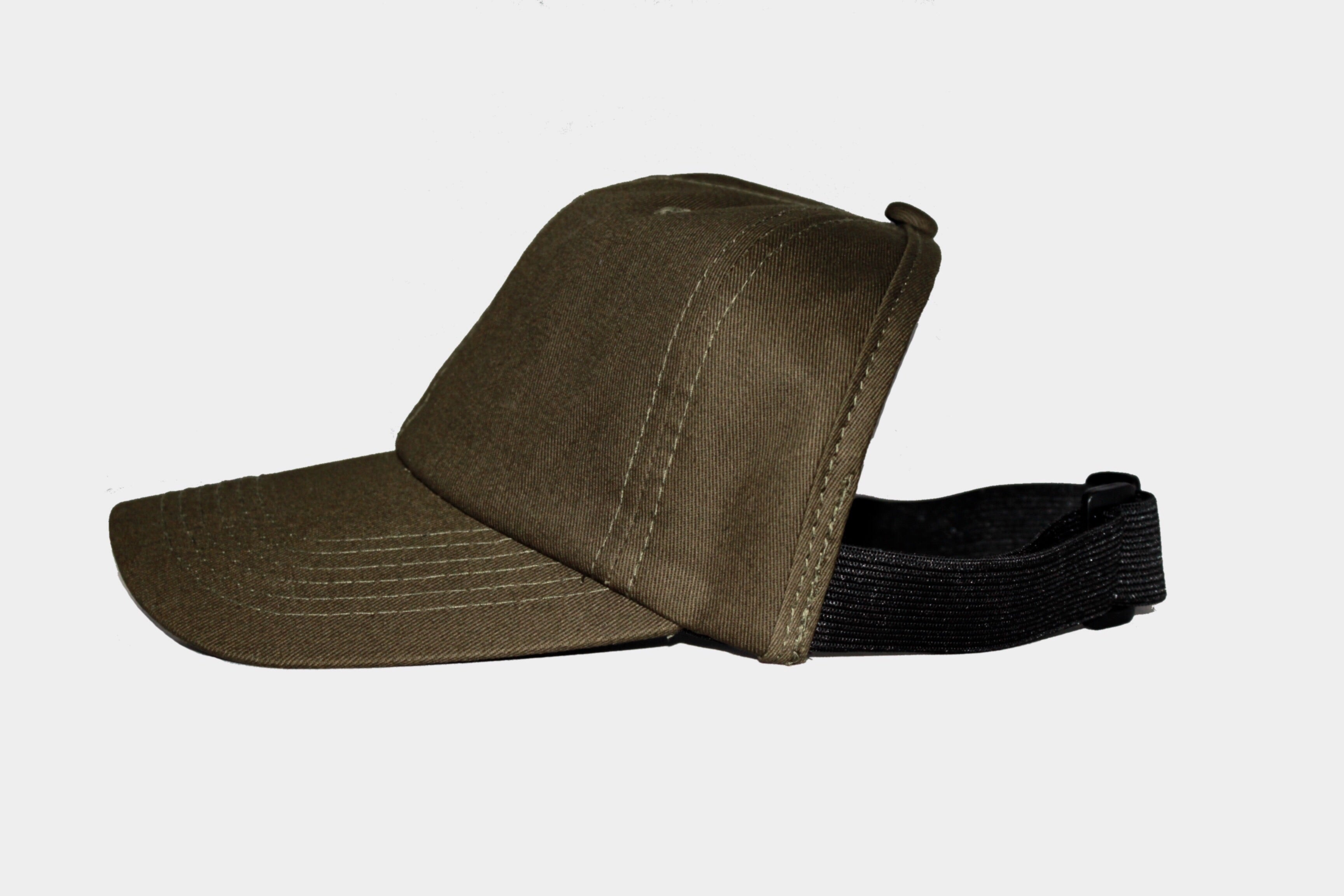 Cotton Military Green Satin-Lined Backless Hat (No Logo)