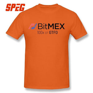 100x or GTFO BitMex Edition Cryptocurrency T-Shirts Funny Gifts Cotton Men Short Sleeve T Shirts Large Size Round Collar Tees  - Crypto Kicks
