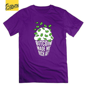 Bitcoin Made Me Rich AF T-Shirt HODL Ice Cream Cone Cryptocurrency T Shirts O Neck Short Sleeve 100% Cotton Tees Male 5XL  - Crypto Kicks