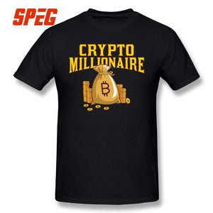 Bitcoin Millionaire T Shirts Gift Crypto Traders Cryptocurrency Men Short Sleeve Tees Awesome Round Neck 100% Cotton T-Shirt  - Crypto Kicks