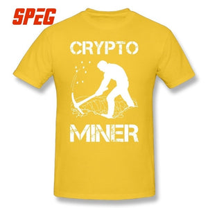 Crypto Miner Funny Cryptocurrency Holder Merch T Shirts 100% Cotton Print T-Shirt Short Sleeve Men Crewneck Large Size Tees  - Crypto Kicks