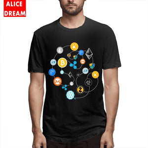 Cryptocurrency T-Shirt.Ethereum Bitcoin Litecoin T-shirt Tether Cash Blockchain T shirt Men 100% Cotton Plus Size Tee Shirt  - Crypto Kicks