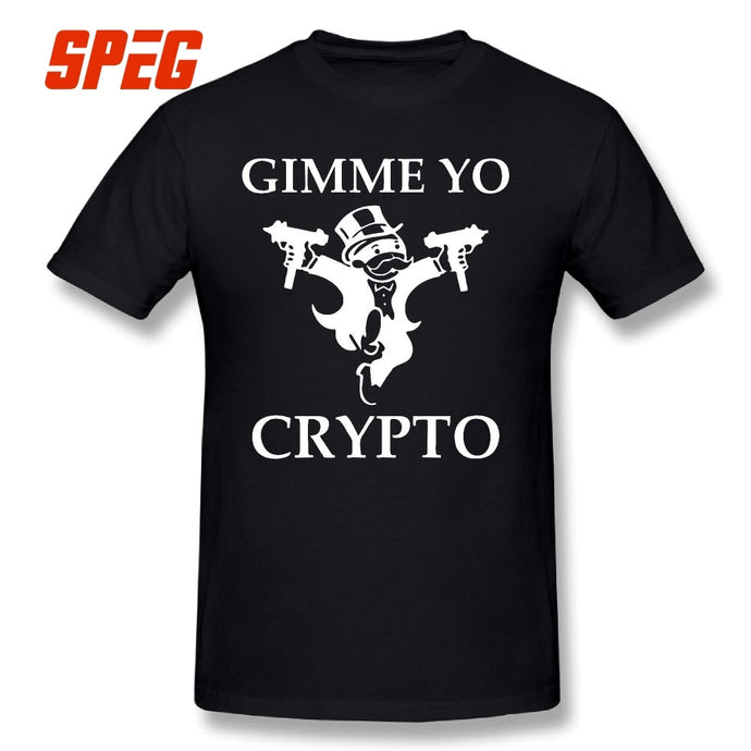 Gimme Yo Crypto Cryptocurrency T Shirt Short Sleeve Tees Teenage Vintage Round Neck 100% Cotton Funny T-Shirts Plus Size  - Crypto Kicks