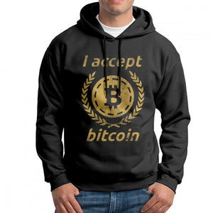 I Accept Bitcoin Digital Currency Funny Man Sweatshirt Unique Pure Cotton Hoodie Travel Hooded Tops  - Crypto Kicks