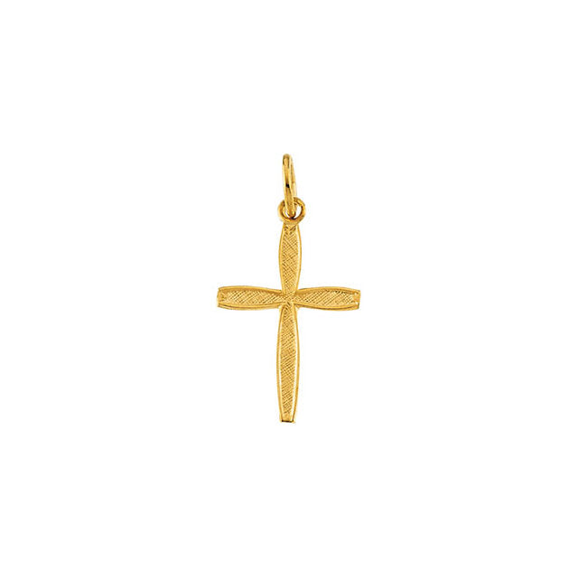 14K Yellow Gold 17x8mm Fish Pendant with Cross