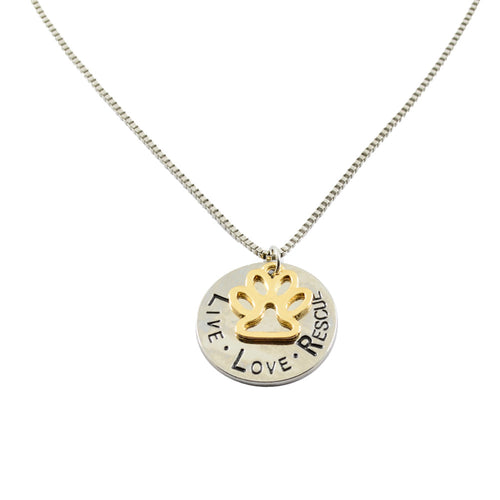 LIVE-LOVE-RESCUE Paw Necklace