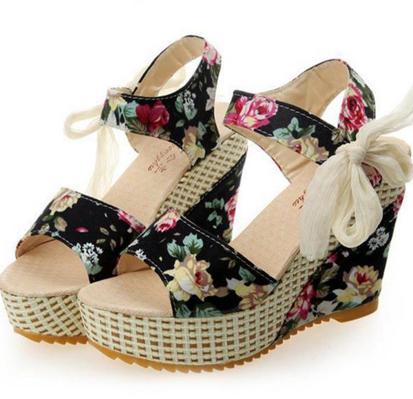 Women's Open Toe Wedge Sandals Floral high-heeled Shoes Platform Sandals
