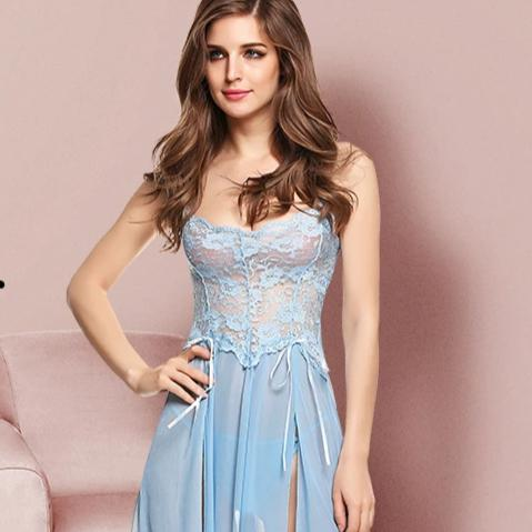 -Women Lingerie Gown Nightwear Mesh Babydoll Dress Lace Chemises Nightie Set