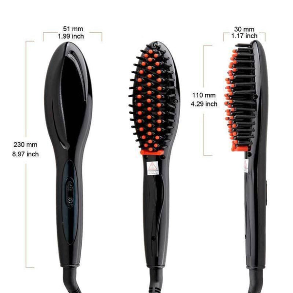 Electric Tourmaline Ceramic Brush Hair Straightener - ICU SEXY