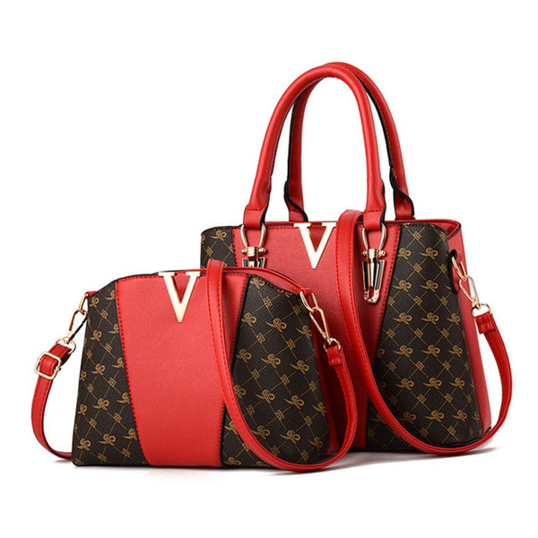 Women's Fashion Luxury Gold V Shoulder Handbag Set - ICU SEXY