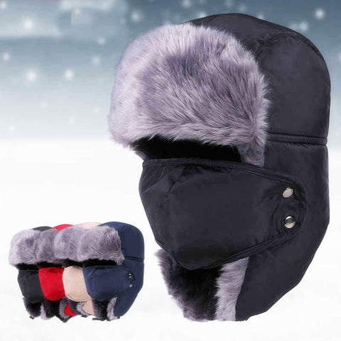 Ushanka Russian Fur Hat Warm Thickened Ear Flaps Unisex Winter Bomber Hat