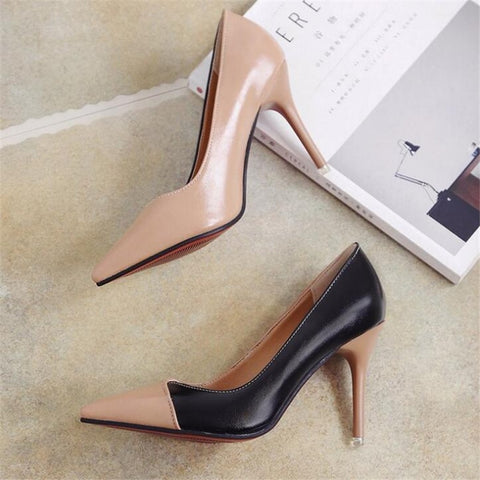 Women's Fashion Footwear Brand Designer Style Color Contrasting Illusive Stiletto Heels