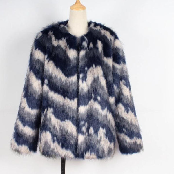 -Women's Multicolor Luxury Designer Brand Fashion Faux Fur Coat