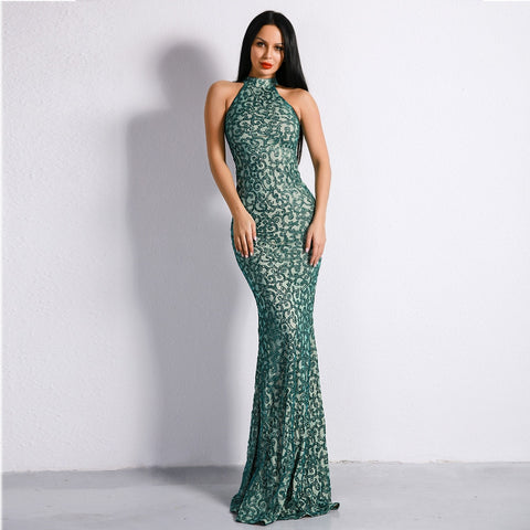 Celebrity Style Sleeveless Green Halter Flash Sequined Elegant Bodycon Dress