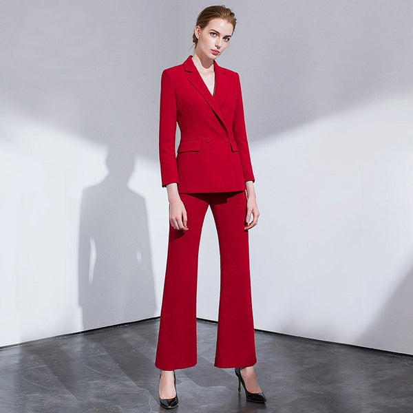 -Women's Trendy Wear To Work Solid Double Breasted Pants Suit