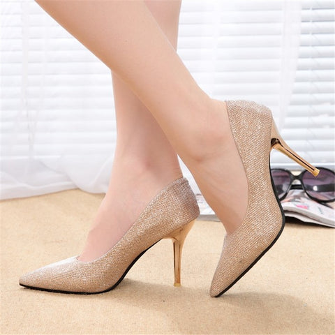 New Women's Fashion Pointed Toe Shimmering Silk Bling Party Stiletto Heels