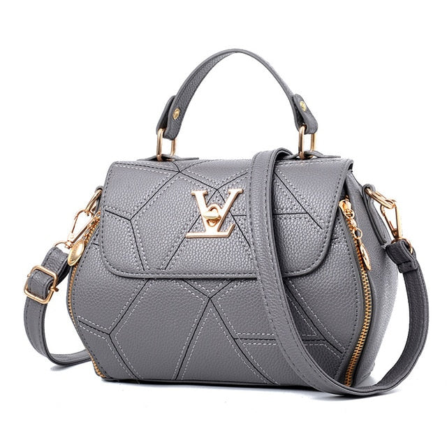 Women's Fashion V Letter Monogram Solid Luxury Gray Designer Handbag - ICU SEXY