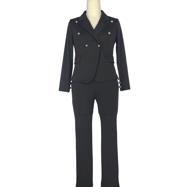 -Women's Sexy Work Pant Suits OL 2 Piece Blazer and Pencil Pant Wear To Work Suit Set