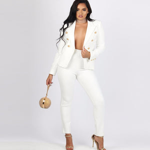 Women's Sexy Work Pant Suits OL 2 Piece Blazer and Pencil Pant Wear To Work Suit Set