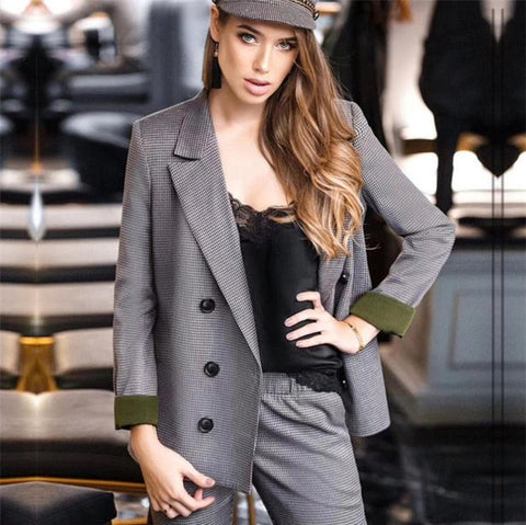 Spring Autumn Double Breasted Office Ladies Plaid Blazer suits sets Fashion Women Cuff roll long pants blazers sets