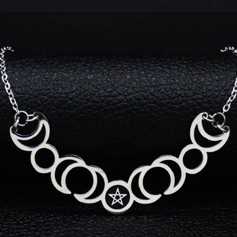 Sun Moon Pentagram Stainless Steel Silver Color Necklace