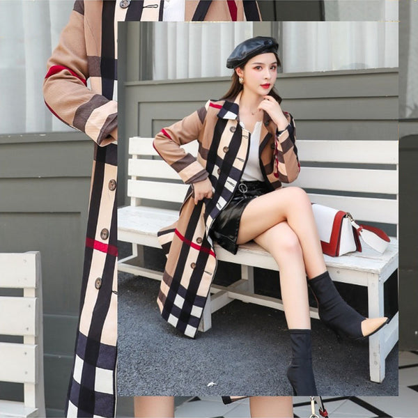 -Women Double-Breasted High Fashion Style Broadcloth Plaid Trench Coat