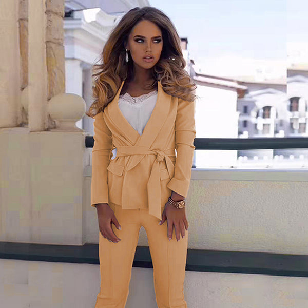 Women's Sexy Gold Long Sleeve Fashion Blazer Jacket and Pants Suit Set