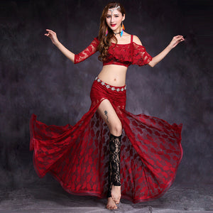 New Women's Professional Belly Dance Lace Sling Costume Set