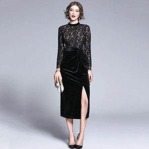 Women's Sexy Long Sleeve Velvet Lace High Split Designer Winter Runway Dress