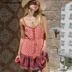 2020 Pink Floral Bohemian Style Open Button V Neck Dress