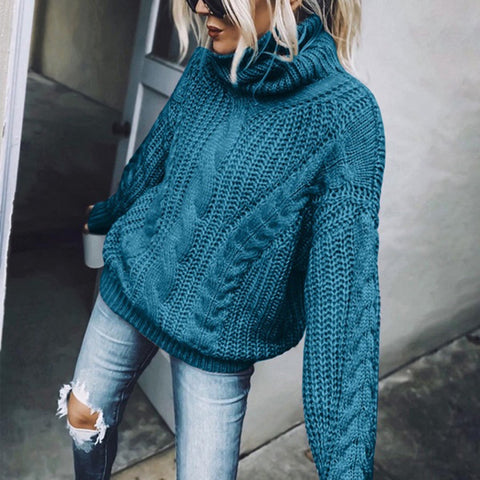 New Women's Winter Loose Casual Solid Cable Knitted Turtleneck Sweater - ICU SEXY