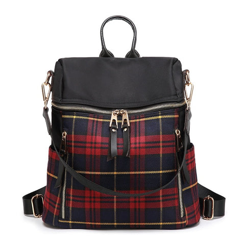 Women's Red Plaid English Vintage Style Large Capacity Multi-functional Backpack