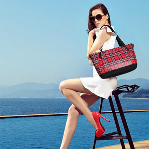 2020 New Arrival Women's English Vintage Red Plaid Print PU Tote with Small Pouch