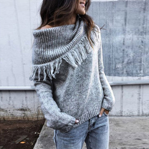 2020 New Women's Casual Knitted Sweater With Top Solid Color Scarf Collar - ICU SEXY