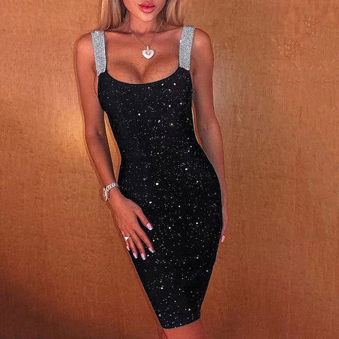 2020 Women Sexy Party Night Club Bodycon Dress Sleeveless Glitter Shimmer Backless Sheath Dress
