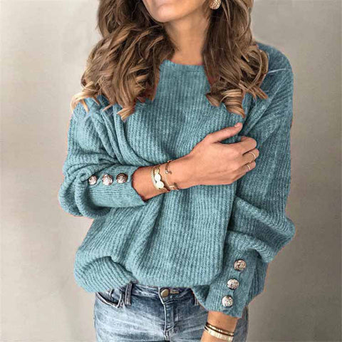 Solid Color Pullover Round Neck Warm Long Sleeve Sweater - ICU SEXY