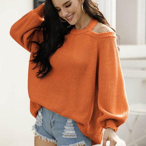 Women Oversized Casual Off-Shoulder Solid Knitted Fashion Sweater - ICU SEXY